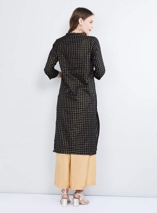 MAX Checked Rolled-Up Sleeves Kurta