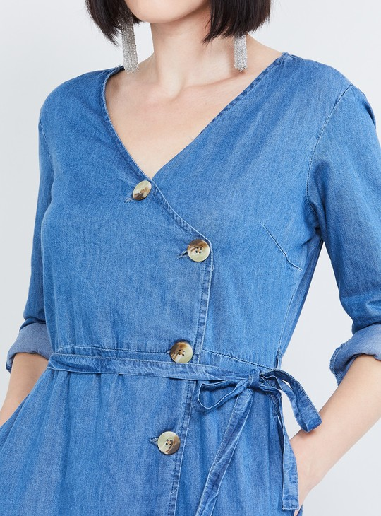 MAX Solid Denim Tie-up Tunic