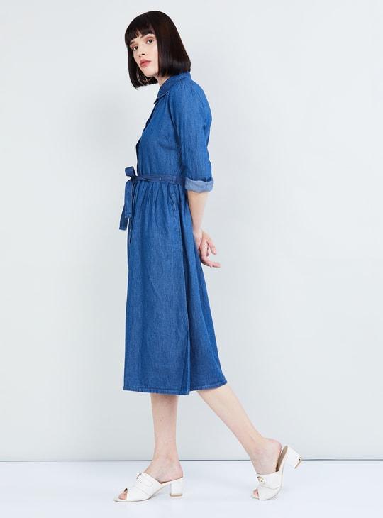 MAX Solid Full Sleeves A-line Denim Dress
