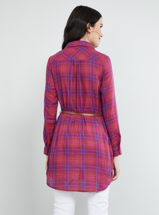MAX Checked Three-quarter Sleeves Tunic with Belt