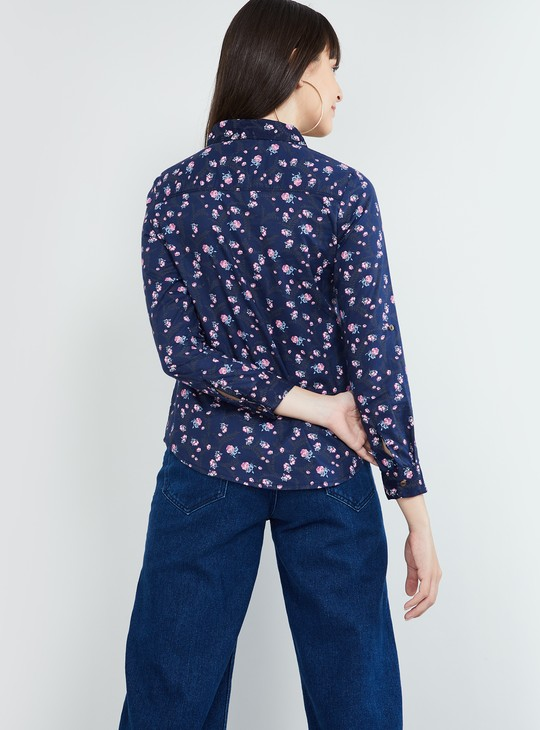 MAX Floral Printed Shirt with Roll-Up Tab Sleeves