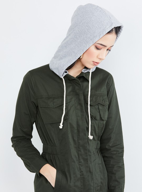 MAX Solid Hooded Jacket with Elastic Waist