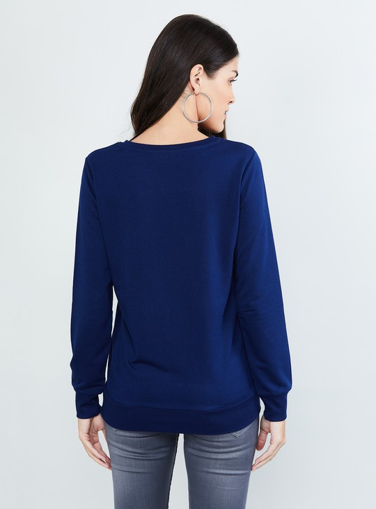 MAX Solid Embellished Full Sleeves Sweatshirt