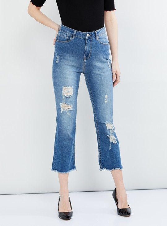 MAX Stonewashed Distressed Cropped Jeans