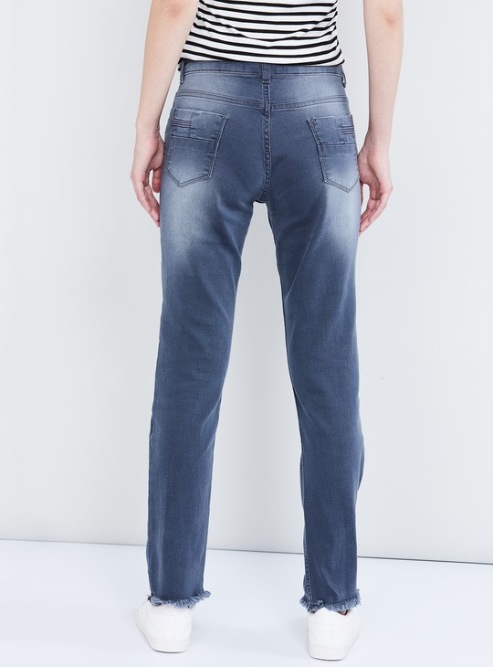 MAX Stonewashed Jeans with Frayed Hems