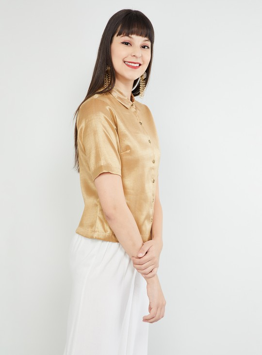 MAX Solid Short Sleeves Ethnic Top