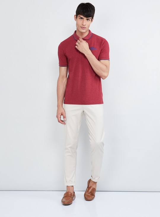 MAX Solid Slim Fit Flat-Front Chinos