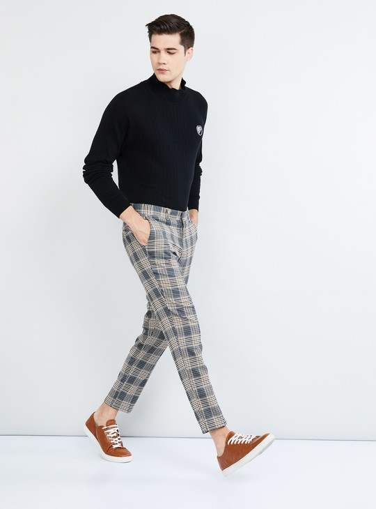 MAX Checked Casual Trousers with Slant Pockets