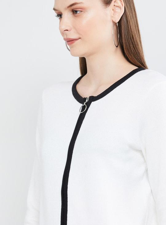 MAX Solid Round Neck Zip-Closure Jacket
