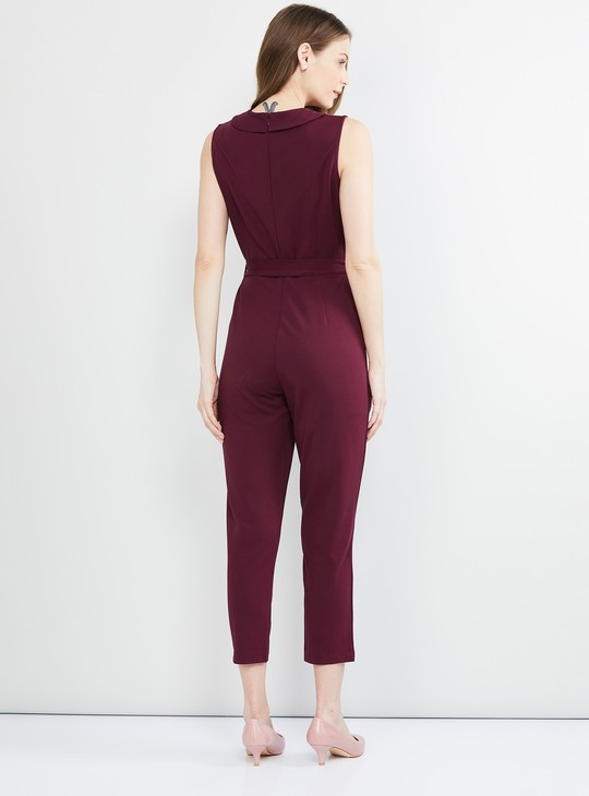 MAX Solid Sleeveless Jumpsuit with Tie-Up Detail