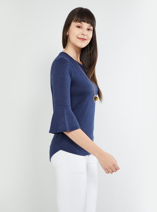 MAX Solid Knitted Round Neck Top