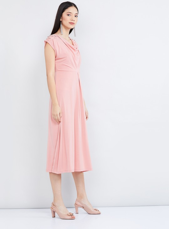 MAX Solid Cap Sleeves A-line Dress
