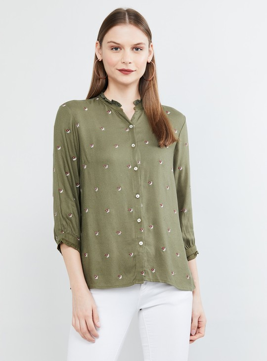 MAX Embroidered Roll-Up Sleeves Shirt