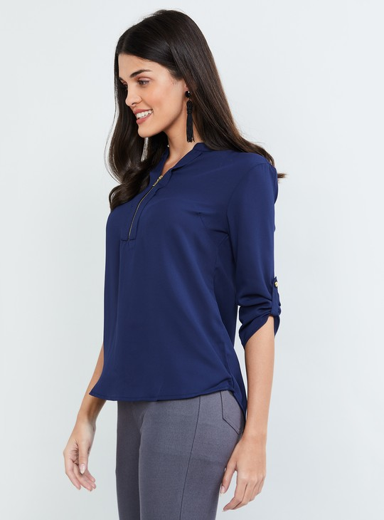 MAX Solid Rolled-Up Sleeves Top