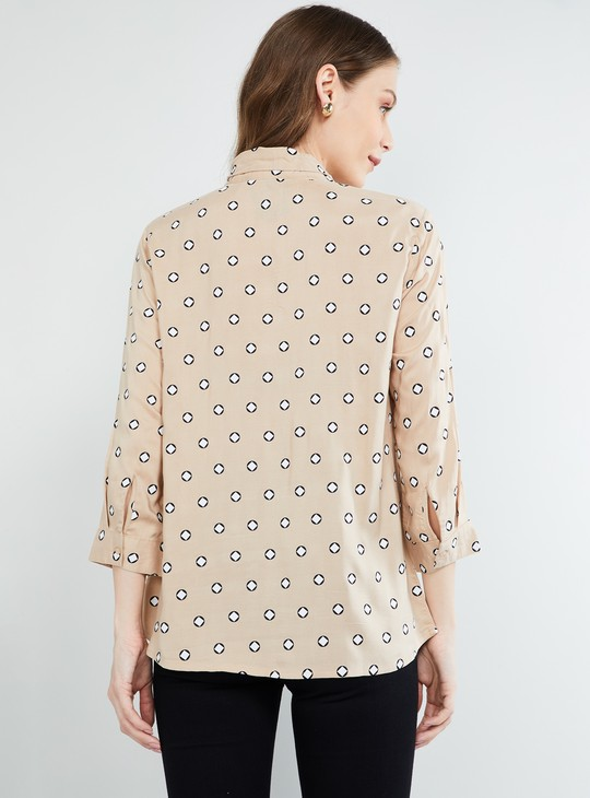 MAX Printed Tie-Up Neck Shirt