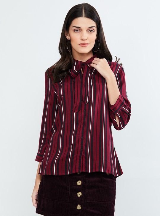 MAX Tie-Up Neck Striped Shirt