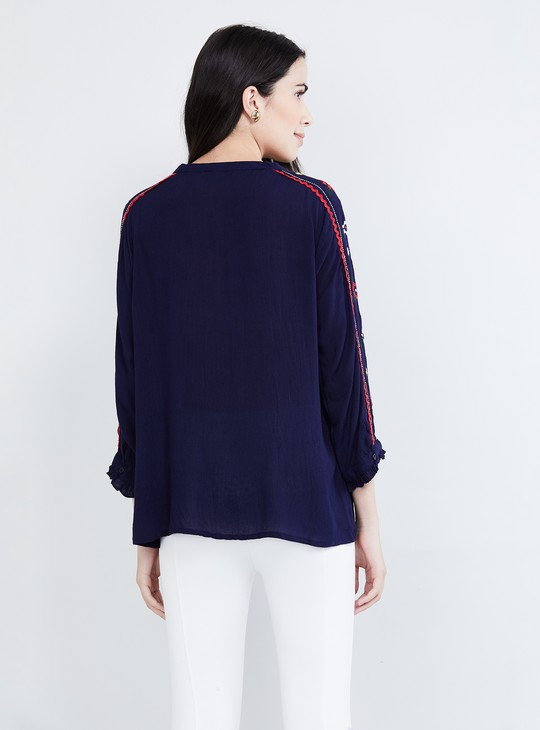 MAX Embroidered Notched Neck Top