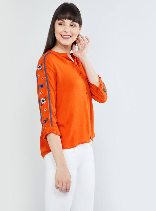 MAX Band Collar Shirt with Embroidered Sleeves