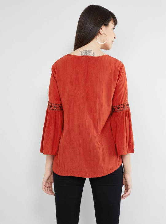 MAX Bell Sleeves Printed Top