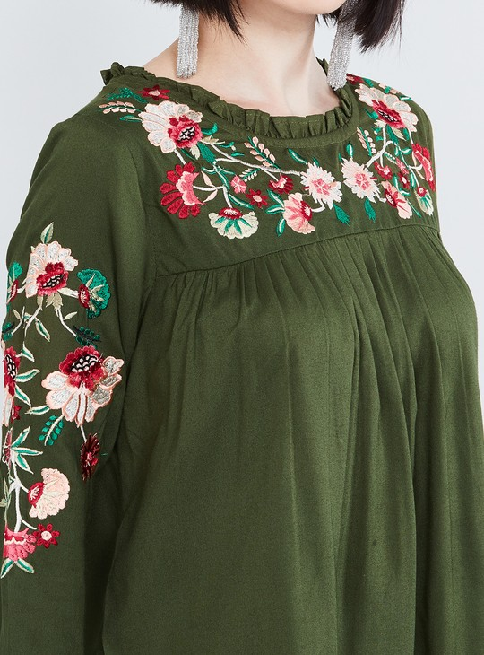 MAX Floral Embroidered Yoke Panelled Blouse