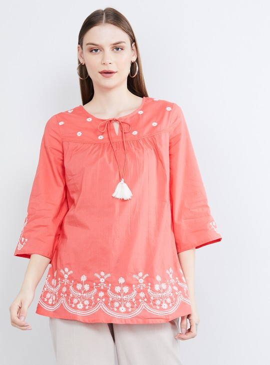 MAX Floral Embroidery Top with Tasselled Tie-Up