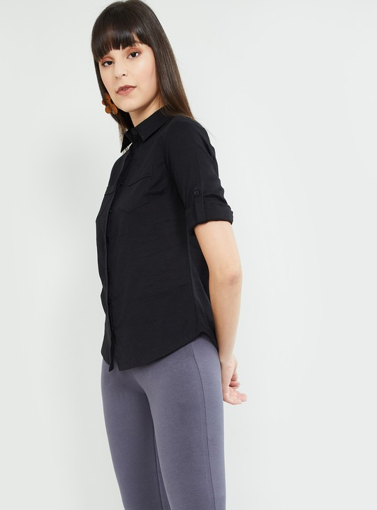 MAX Solid Roll-Up Sleeves Casual Shirt