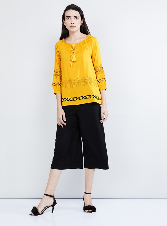 MAX Schiffli Embroidery Top with Tasselled Tie-Up