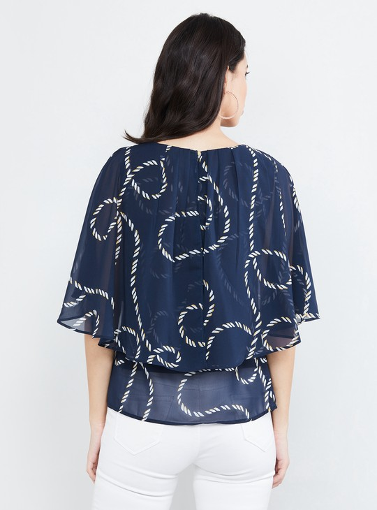 MAX Printed Flared Sleeves Top