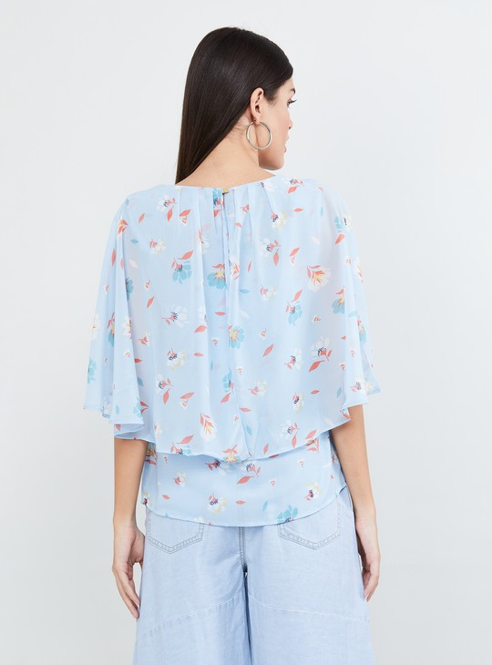 MAX Cape Sleeves Floral Print Top