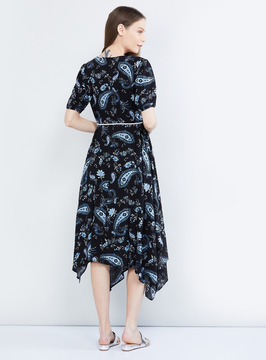 MAX Paisley Print Asymmetric Hem Dress