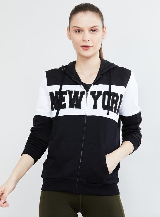 MAX Typographic Print Full Sleeves Hooded Sweatshirt