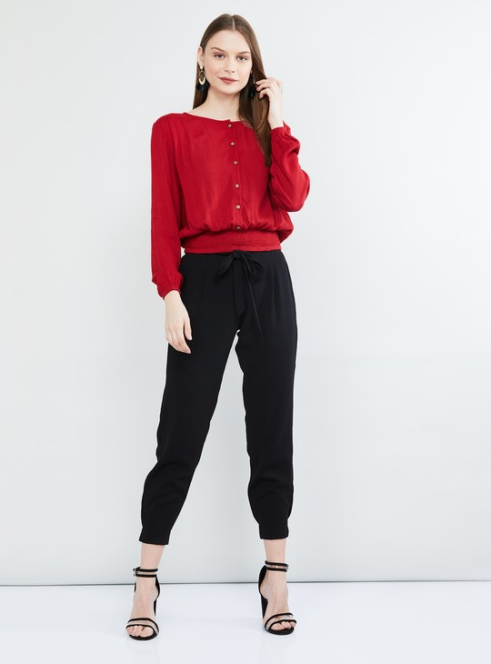 MAX Solid Casual Trousers with Tie-up Waist