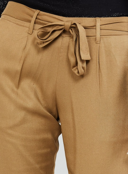 MAX Solid Tie-Up Detail Cropped Pants