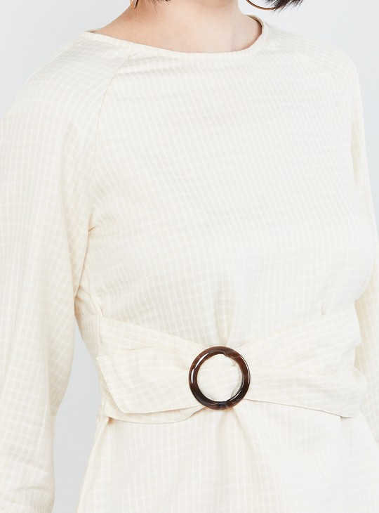 MAX Textured Cinched Waist Top