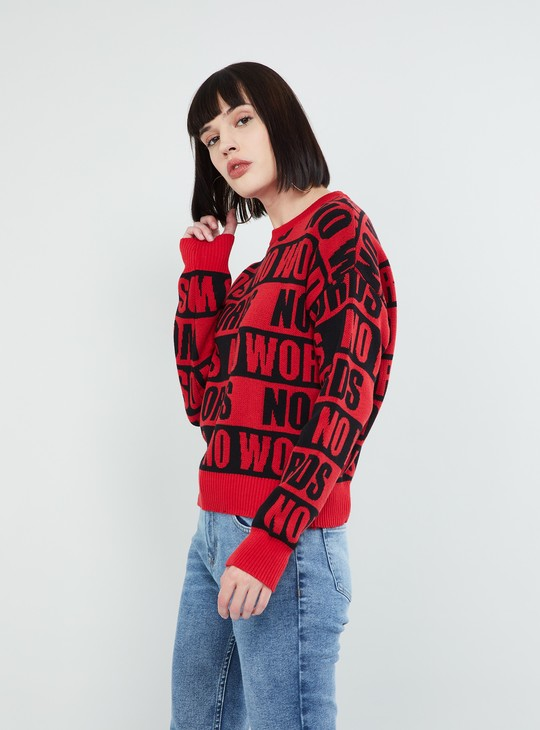 MAX Typographic Texture Full Sleeves Sweater