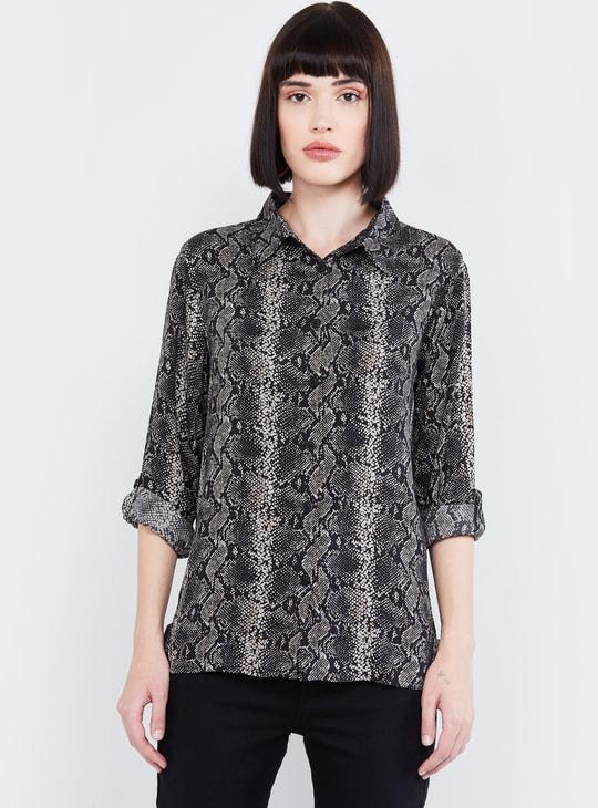 MAX Snakeskin Print Full Sleeves Shirt