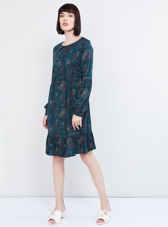 MAX Floral Print Shift Dress with Flounce Hem