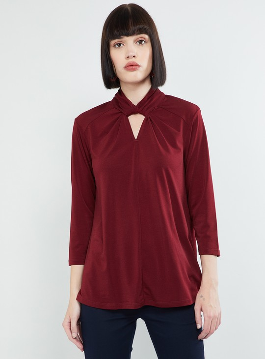 MAX Solid Key-Hole Neck Top