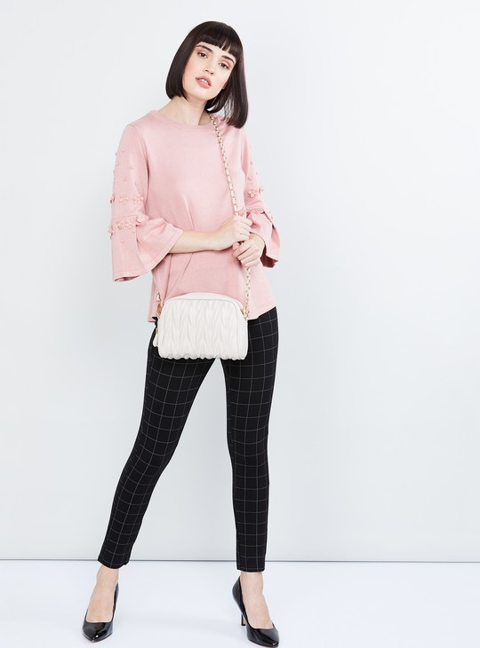 MAX Applique Bell Sleeves Sweater