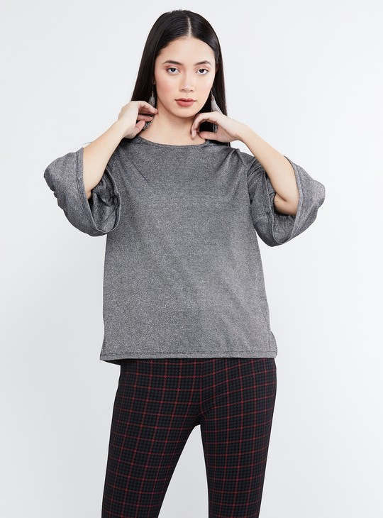 MAX Textured Bell Sleeves Top