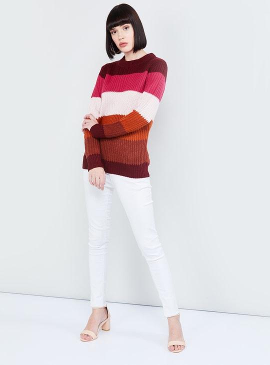 MAX Colourblocked Round Neck Sweater