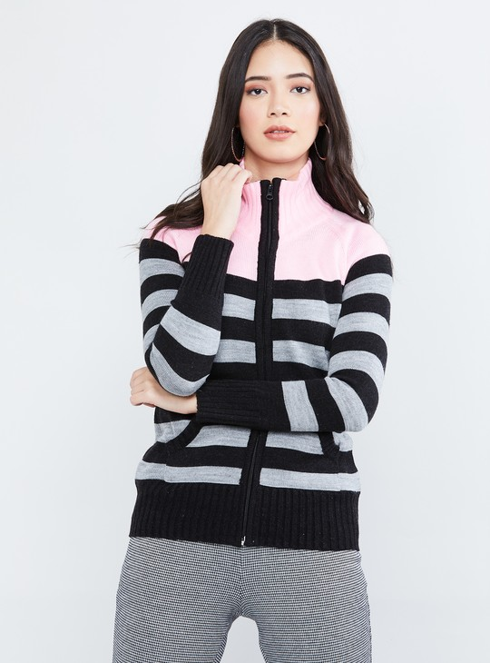 MAX Striped High-Neck Sweatshirt