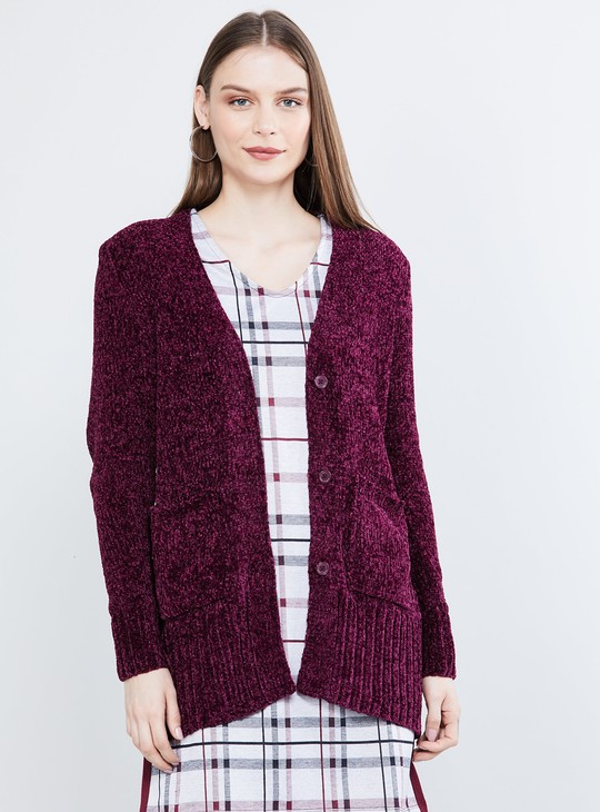 MAX Ribbed V-neck Cardigan