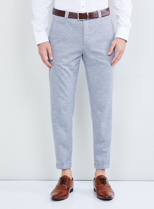 MAX Textured Slim Fit Formal Trousers