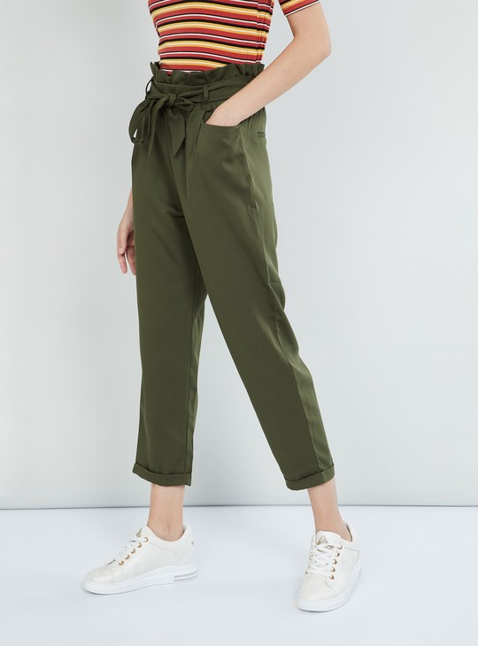 MAX Solid Tie-Up Detail Pants