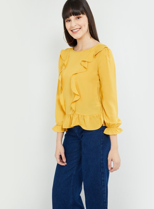 MAX Boat Neck Ruffled Top