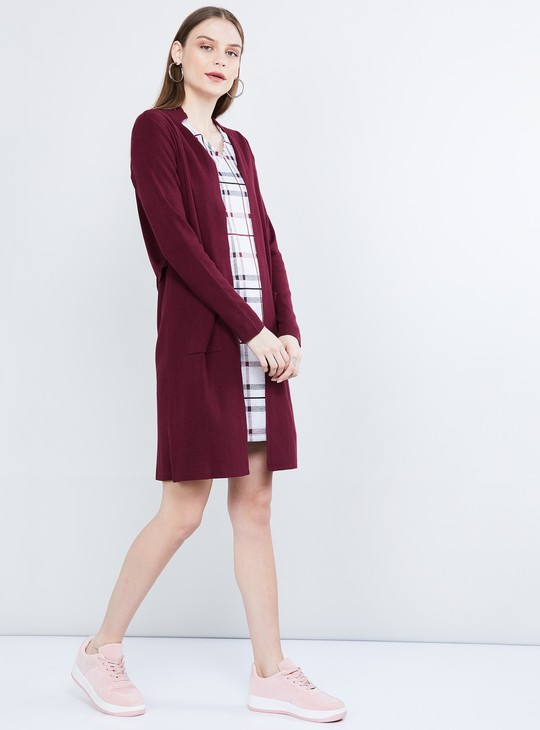 MAX Solid Longline Open-Front Cardigan