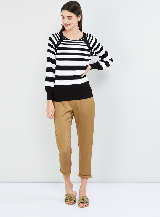 MAX Striped Raglan Sleeves Sweater