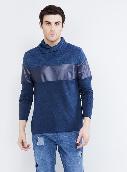 MAX Textured Cowl Neck T-shirt