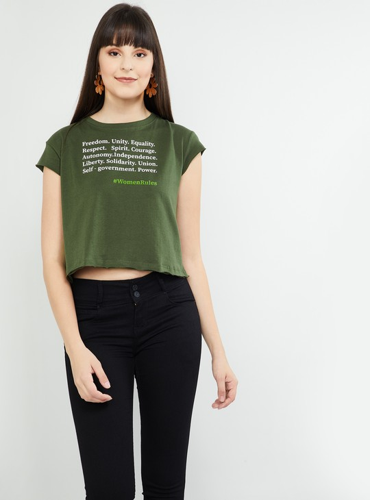 MAX Typographic Print Cropped T-shirt